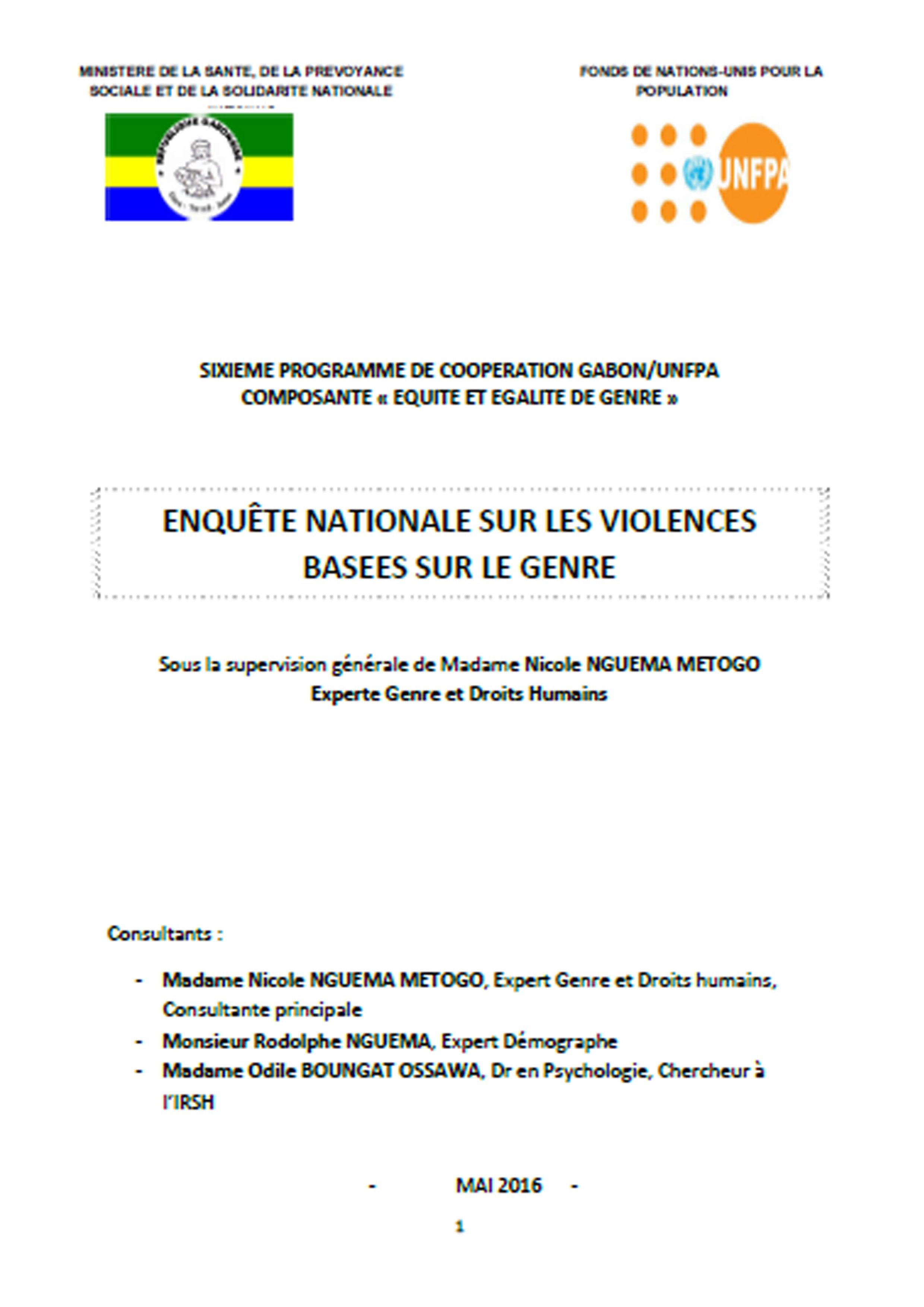 ENQUÊTE NATIONALE SUR LES VIOLENCES BASEES SUR LE GENRE