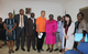 M. Keita Ohashi, Représentant Résident de l'UNFPA et Mme Paulette Mengue M'Owono gouverneur de la province du Moyen-Ogooué (centre) entourés de leurs collaborateurs